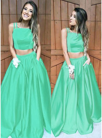 Satin Sleeveless A-Line/Princess Prom Dresses Square Neckline Ruffle Sweep Train