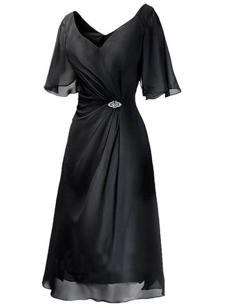 Chiffon 1/2 Sleeves Mother of the Bride Dresses V-neck A-Line/Princess Ruffle Crystal Brooch Tea-Length