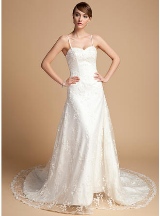 Luxurious Chapel Train A-Line/Princess Wedding Dresses Sweetheart Lace Sleeveless