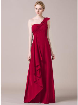 Chiffon Sleeveless A-Line/Princess Bridesmaid Dresses One-Shoulder Cascading Ruffles Floor-Length