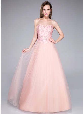 Beautiful Ball-Gown Tulle Floor-Length Sleeveless Prom Dresses