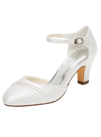 Women's Closed Toe Pumps Chunky Heel Silk Like Satin No Wedding Shoes