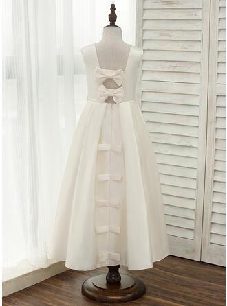 A-Line/Princess Ankle-length Flower Girl Dress - Satin Sleeveless Scoop Neck With Bow(s)/Rhinestone/Back Hole