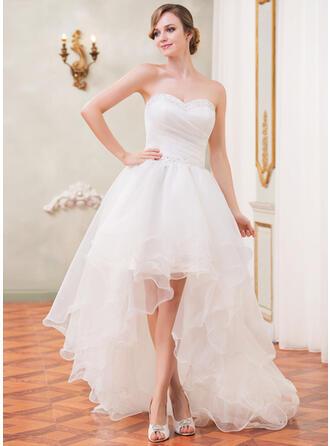 A-Line Sweetheart Asymmetrical Organza Wedding Dress With Ruffle Beading Sequins