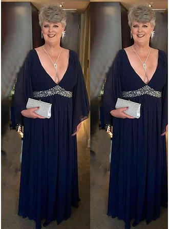 A-Line/Princess Chiffon Long Sleeves V-neck Floor-Length Zipper Up Mother of the Bride Dresses