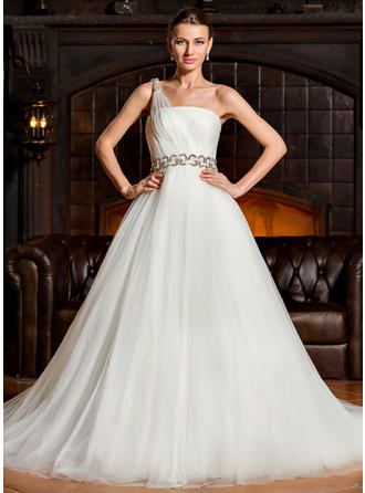 Beautiful Chapel Train Ball-Gown Wedding Dresses One Shoulder Tulle Sleeveless