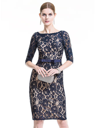Sheath/Column Scoop Neck Lace 1/2 Sleeves Knee-Length Bow(s) Cocktail Dresses