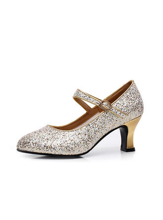 Women's Character Shoes Pumps Sparkling Glitter With Ankle Strap Dance Shoes