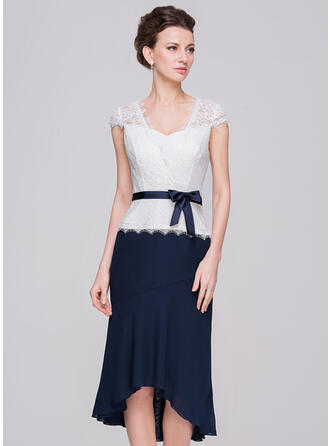 Sheath/Column Sweetheart Asymmetrical Chiffon Lace Mother of the Bride Dress With Bow(s)