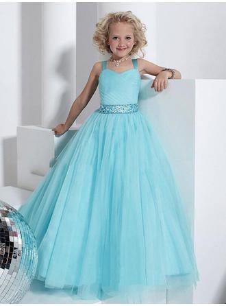 Duchesse-Linie Correas de hombro Bodenlang mit Perlstickerei Tüll Blumenmädchenkleider