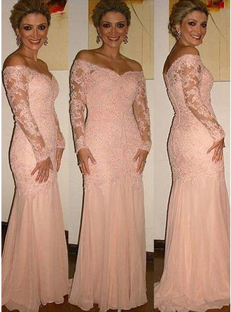 Trumpet/Mermaid Off-the-Shoulder Chiffon Lace Long Sleeves Sweep Train Mother of the Bride Dresses