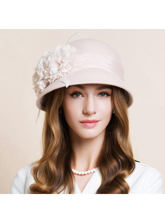 Wool With Silk Flower Bowler/Cloche Hat Beautiful Ladies' Hats