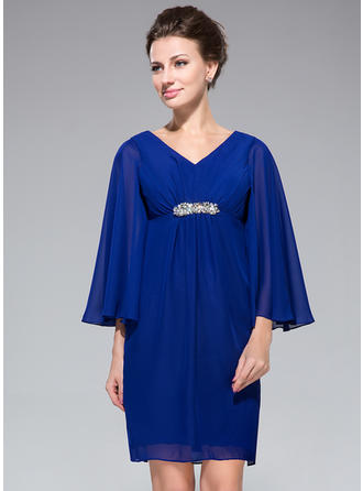 Chiffon Long Sleeves Mother of the Bride Dresses V-neck Empire Ruffle Beading Short/Mini