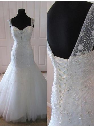 Trumpet/Mermaid Sweetheart Court Train Wedding Dress With Beading Appliques Lace Sequins