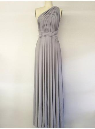 A-Line/Princess Floor-Length Chiffon One-Shoulder Bridesmaid Dresses