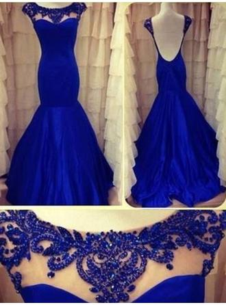 Taffeta Sleeveless Trumpet/Mermaid Prom Dresses Scoop Neck Beading Floor-Length