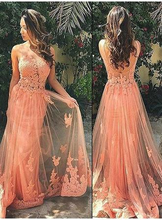 A-Line/Princess Scoop Neck Tulle Sleeveless Delicate Prom Dresses