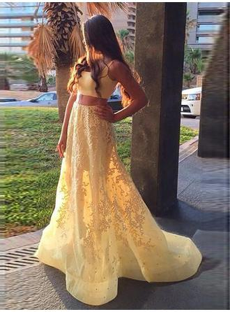 A-Line/Princess Square Neckline Sweep Train Detachable Satin Prom Dress With Appliques Lace