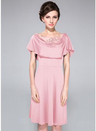 A-Linie/Princess-Linie Jersey Sexy Wasserfallausschnitt Kleider für die Brautmutter