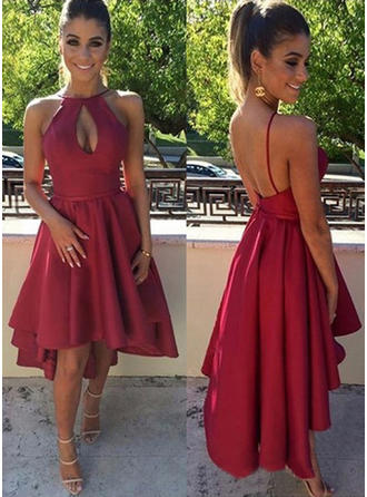 A-Line/Princess Scoop Neck Asymmetrical Satin Cocktail Dress
