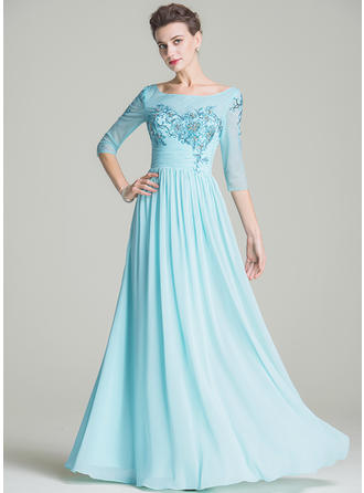 A-Line/Princess Scoop Neck Floor-Length Mother of the Bride Dresses With Ruffle Beading Appliques Lace Sequins