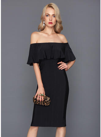Jakke Off-shoulder Knælængde Jersey Cocktailkjole