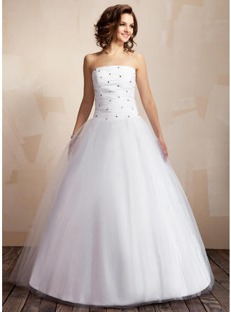 Delicate Floor-Length Ball-Gown Wedding Dresses Strapless Taffeta Tulle Sleeveless