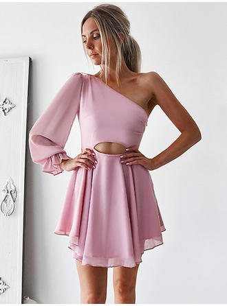 A-Line/Princess Chiffon Cocktail Dresses Ruffle One-Shoulder Long Sleeves Short/Mini