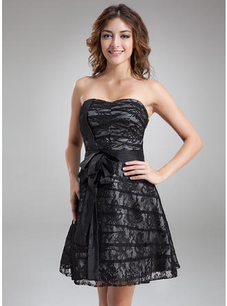 2019 New A-Line/Princess Taffeta Lace Cocktail Dresses