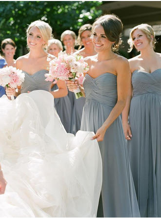 Chiffon Sleeveless A-Line/Princess Bridesmaid Dresses Sweetheart Ruffle Floor-Length