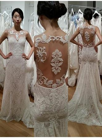 Sheath/Column Scoop Sweep Train Wedding Dress With Lace Beading