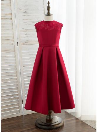 A-Line Tea-length Flower Girl Dress - Satin/Lace Sleeveless Scoop Neck