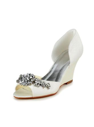 Women's Peep Toe Pumps Wedge Heel Satin With Rhinestone Wedding Shoes