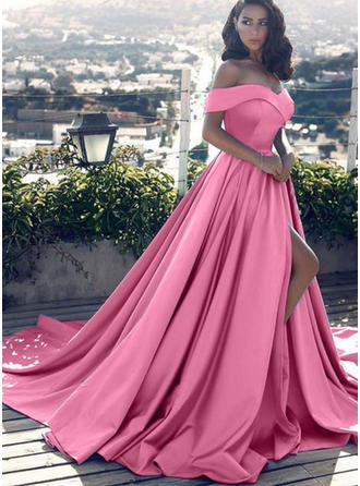 Satin Sleeveless A-Line/Princess Prom Dresses Off-the-Shoulder Ruffle Court Train