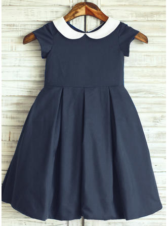 Simple Peter Pan Collar A-Line/Princess Flower Girl Dresses Knee-length Cotton Short Sleeves