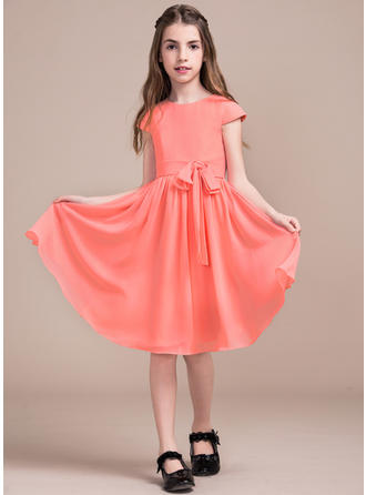 A-Line/Princess Knee-length Flower Girl Dress - Chiffon Sleeveless Scoop Neck With Bow(s)