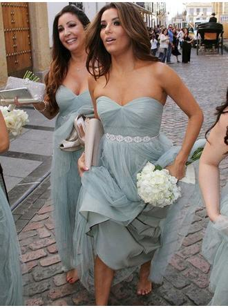 A-Line/Princess Tulle Bridesmaid Dresses Ruffle Sweetheart Sleeveless Floor-Length
