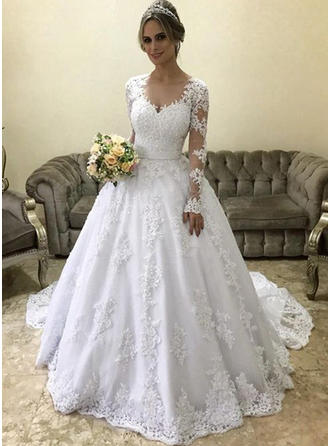 V-neck Ball-Gown Wedding Dresses Tulle Appliques Lace Long Sleeves Court Train (002218065)