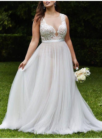 A-Line/Princess Tulle Sleeveless Scoop Court Train Wedding Dresses