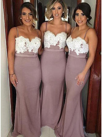 Silk Like Satin Sleeveless Trumpet/Mermaid Bridesmaid Dresses Sweetheart Appliques Floor-Length