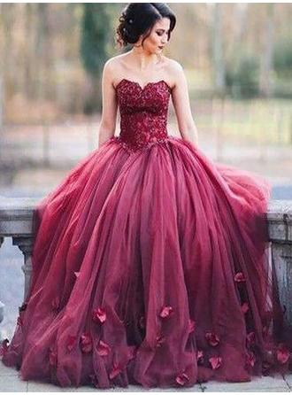 Ball-Gown Tulle Luxurious Floor-Length Sweetheart Sleeveless