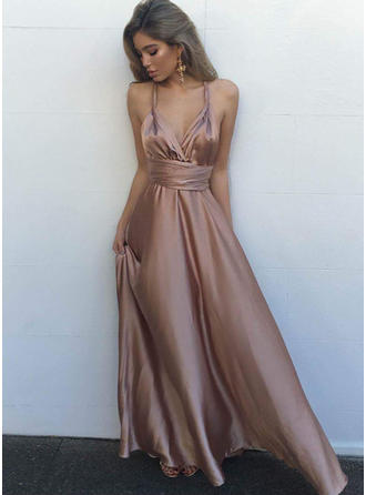 A-Line/Princess Satin Newest Floor-Length V-neck Sleeveless