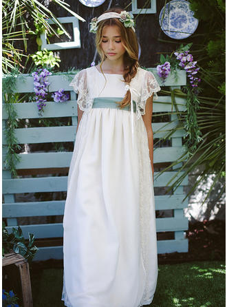 A-Line/Princess Square Neckline Floor-length With Sash Satin/Tulle/Lace Flower Girl Dresses