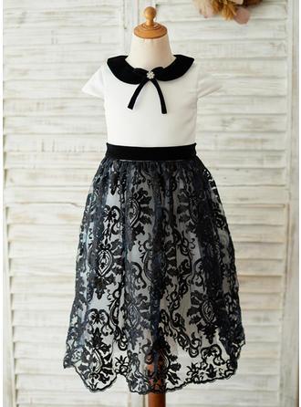 A-Line/Princess Tea-length Flower Girl Dress - Satin/Lace Short Sleeves Shirt collar