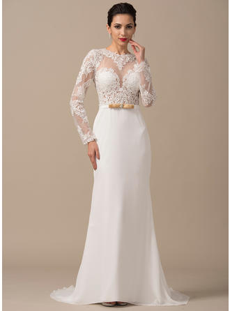 Long Sleeves General Plus Scoop Neck With Chiffon Wedding Dresses