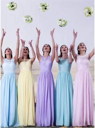 Chiffon Lace Sleeveless A-Line/Princess Bridesmaid Dresses Scoop Neck Floor-Length (007144961)