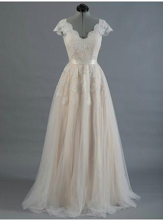 A-Line/Princess V-neck Sweep Train Wedding Dress With Sash Appliques Lace