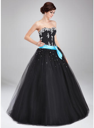 Ball-Gown Sweetheart Floor-Length Prom Dresses With Sash Beading Appliques Lace