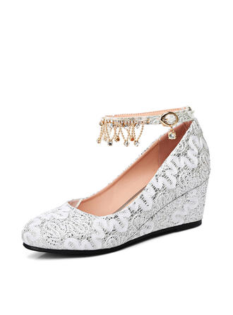 Women's Closed Toe Wedges Wedge Heel Lace With Buckle Wedding Shoes