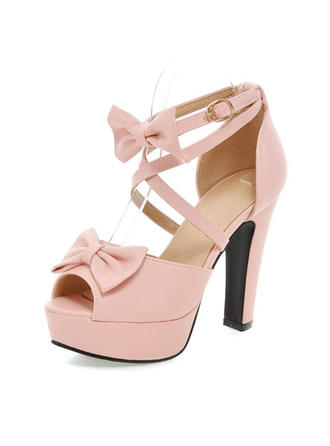 Women's Peep Toe Platform Pumps Chunky Heel Leatherette With Bowknot Buckle Wedding Shoes